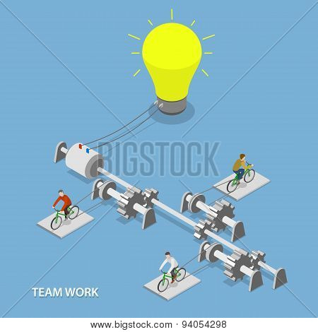 Team work flat isometric vector concept.
