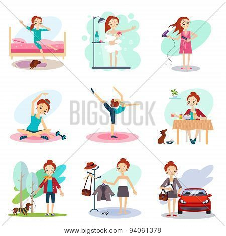 Daily Routine Vector set with cute girl