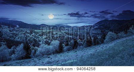 Village On Mountain Slope At Night