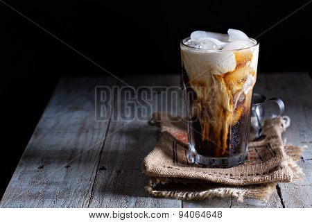 Iced coffee in a tall glass
