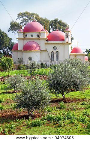 The Greek Orthodox Church of the Twelve Apostles near the shore of the Sea of Galilee ( Kinneret ) at Capernaum (Kfar Nachum) in Israel poster