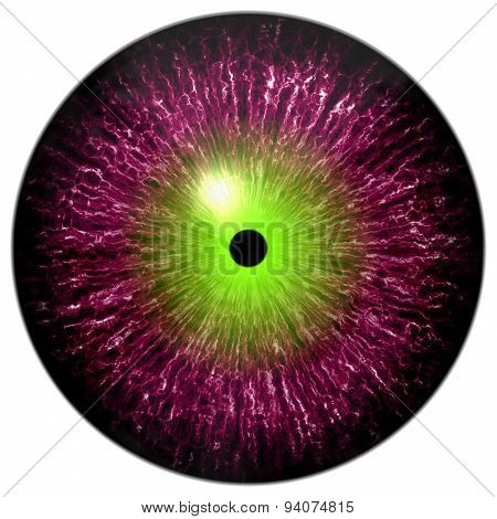 Purple Red Alien, Cat Or Reptile Eye With Neon Green Circle Around The Pupil