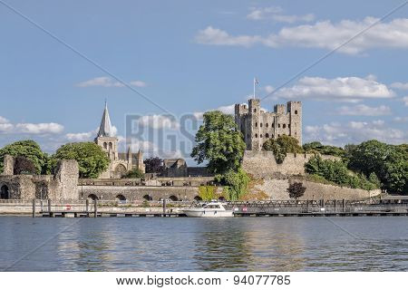 View to Rochester Castle and Cathedral across river Medway
