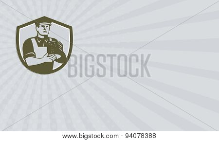 Business Card Cheesemaker Holding Cheese Shield Retro