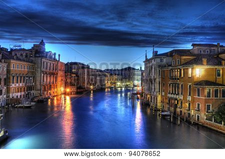 Night Canal In Venice With Beautiful Lights, Venice, Italy
