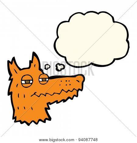 cartoon smug fox face with thought bubble