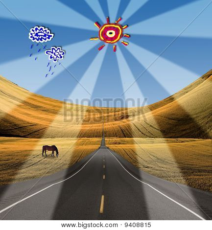 Road In To Landscape With Cartoon Clouds And Sun
