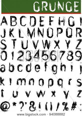 Grunge Alphabet, Font Set Vector Art