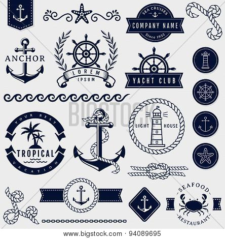 Sea And Nautical Design Elements. Vector Set.