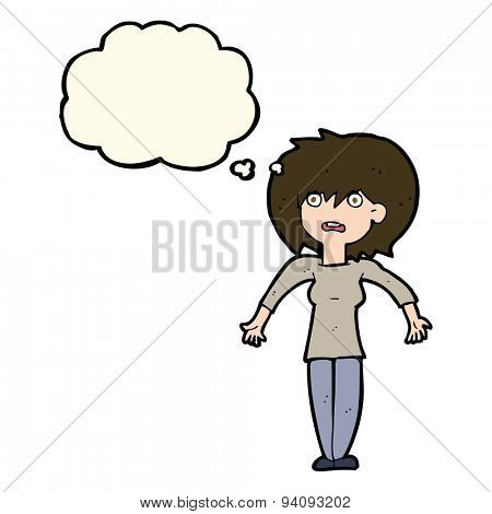 cartoon woman shrugging shoulders with thought bubble poster