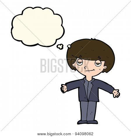 cartoon smug boy with thought bubble