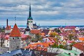 Aerial view of Tallinn Medieval Old Town with St. Olaf's Church and Tallinn City Wall. Tallinn, Estonia poster