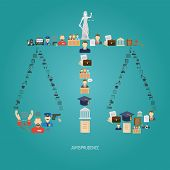 Justice concept with law icons in scales shape flat vector illustration poster