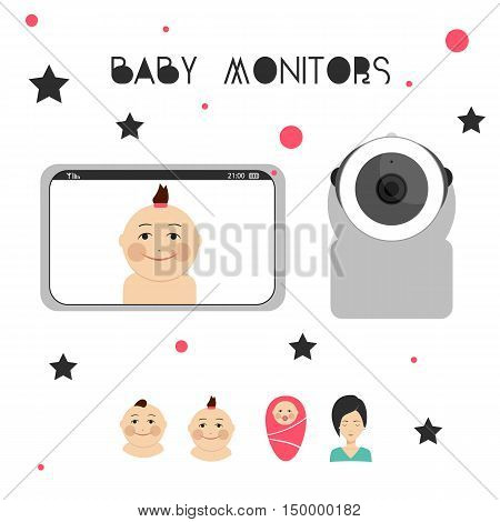Baby monitors design element with mother and child.