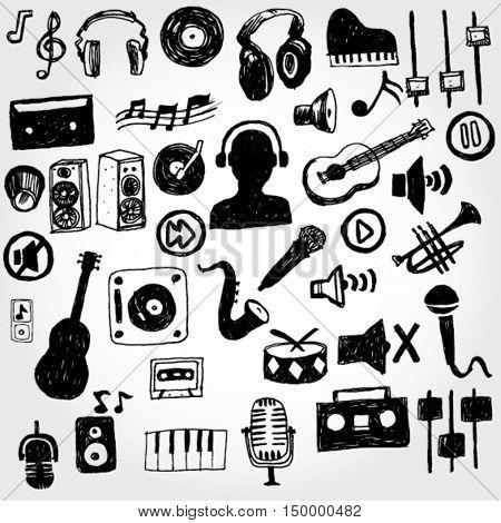 Music Stuff Hand Drawn
