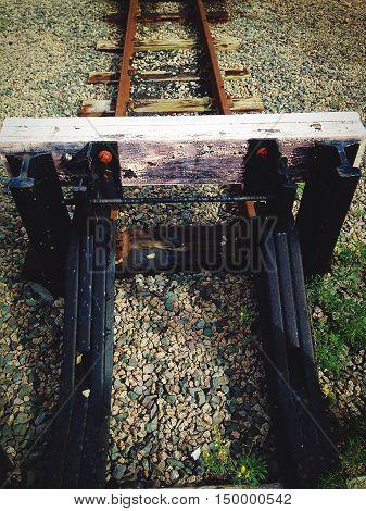 vintage narrow gauge railway track buffer stop