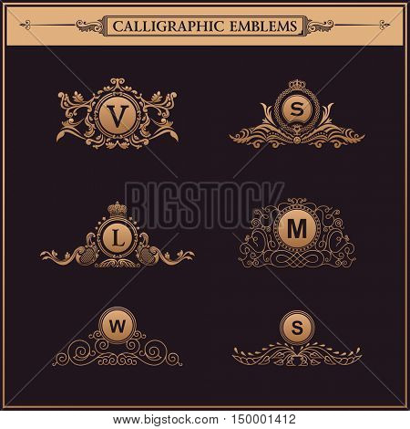 Luxury logos monogram. Vintage royal flourishes elements. Calligraphic symbol ornament. Letter in frame , V, S, L, M, W.
