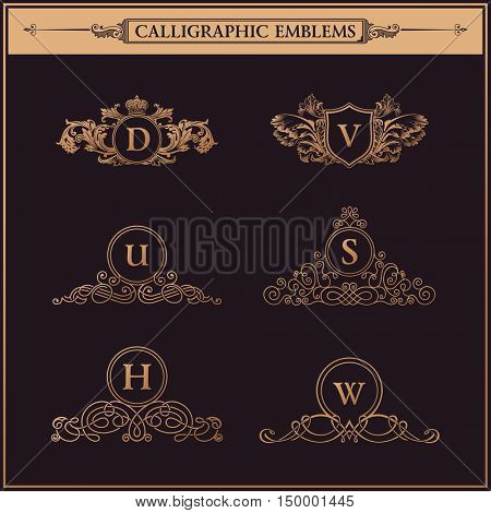 Luxury logos monogram. Vintage royal flourishes elements. Calligraphic symbol ornament. Letters in frame D, V, U, S, H, W.