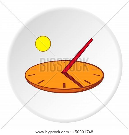 Sundial icon in cartoon style on white circle background. Time symbol vector illustration