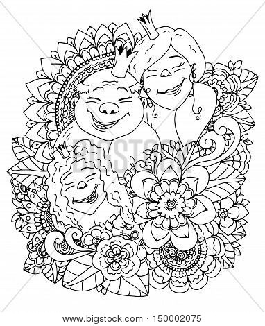 Vector illustration zentangl , the royal family in a flower frame. Doodle drawing. Meditative exercises. Coloring book anti stress for adults. Black and white.