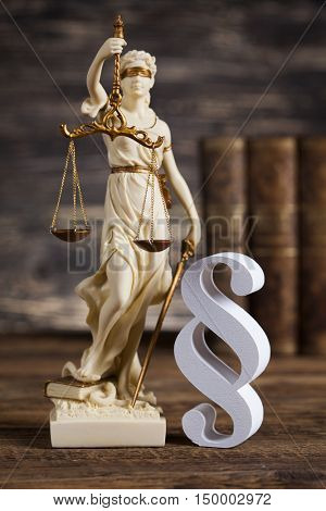 Mallet, Law, legal code and scales of justice concept and paragraph sign