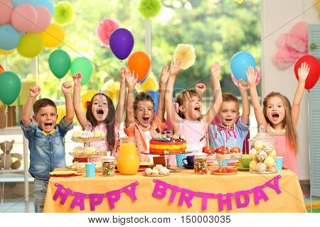 Children's birthday party in decorated room