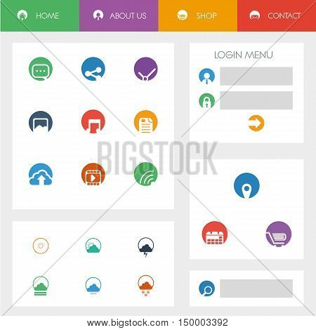 Set of flat design icons in colorful bars or icons for graphic user interface on websites, applications, infographic. Smartphone gui template with menu options, login and weather. Eps10 vector illustration