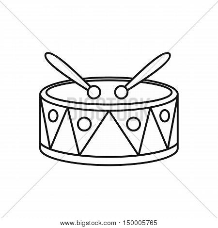 Drum with sticks icon in outline style isolated on white background. Musical instrument symbol vector illustration