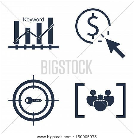 Set Of Seo, Marketing And Advertising Icons On Target Keywords, Pay Per Click, Keyword Ranking And M
