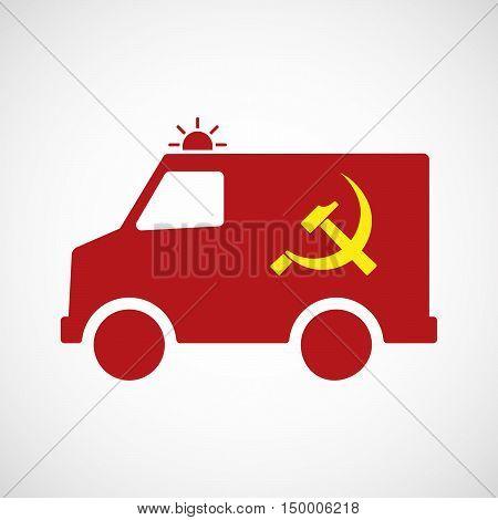 Isolated Ambulance Icon With  The Communist Symbol