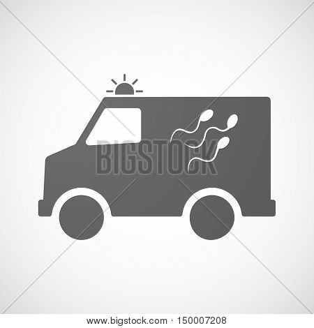 Isolated Ambulance Icon With Sperm Cells