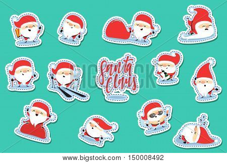 Santa Claus characters of Christmas. Quirky cartoon patch cute sticker flat. Christmas set patches. Funny Santa Claus cartoon character with different emotions.