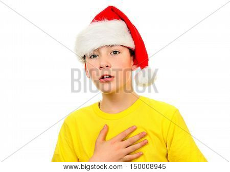 Worried Kid in Santa Hat on the White Background