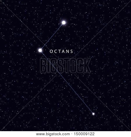 Sky Map with the name of the stars and constellations. Astronomical symbol constellation Octans