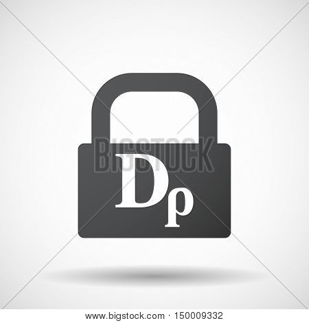 Isolated Lock Pad Icon With A Drachma Currency Sign