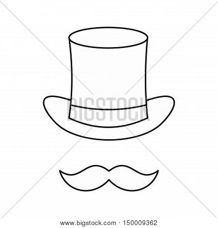 Cylinder and moustaches icon in outline style isolated on white background. Headgear symbol vector illustration