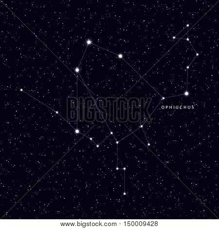 Sky Map with the name of the stars and constellations. Astronomical symbol constellation Ophiuchus