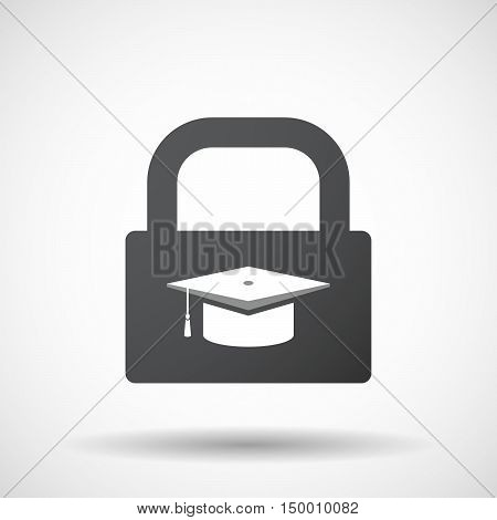 Isolated Lock Pad Icon With A Graduation Cap