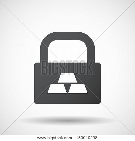Isolated Lock Pad Icon With Three Gold Bullions