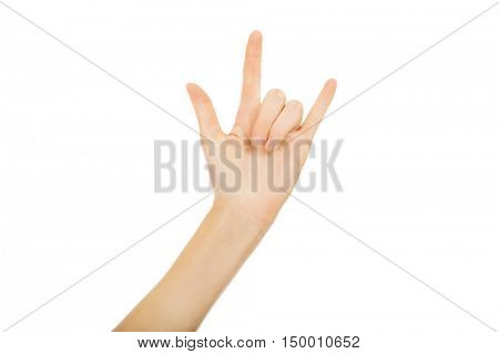 Woman gesturing Rock and Roll sign