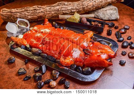 roasted pig on a wooden table, Chinese Food