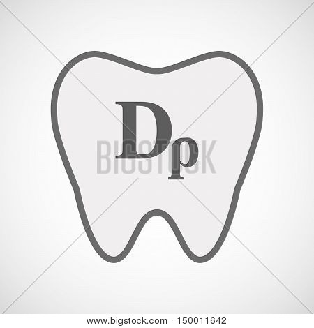 Isolated Line Art Tooth Icon With A Drachma Currency Sign