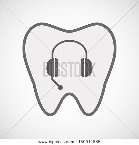 Isolated Line Art Tooth Icon With  A Hands Free Phone Device