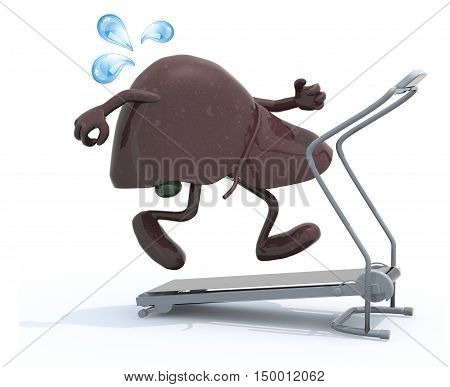 liver with arms and legs on a running machine 3d illustration
