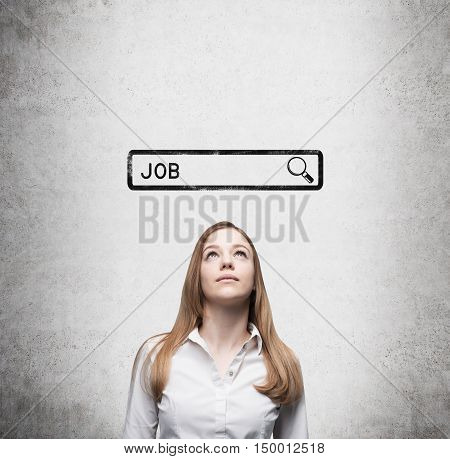 Blond girl standing near concrete wall with search bar sketch and word job. Concept of job finding. Mock up