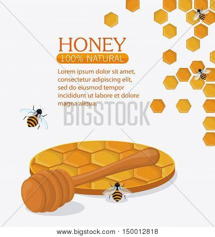 Honeycomb stick and bees icon. Honey healthy and organic food theme. Colorful design. Vector illustration