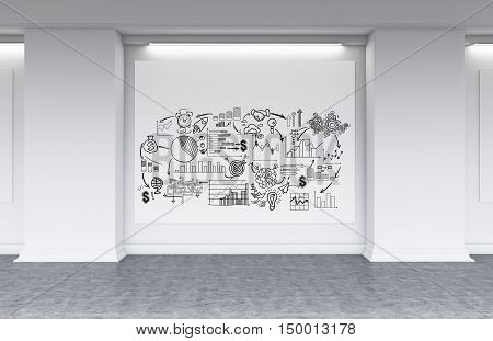 Business sketches on horizontal poster in white office lobby with concrete floor. Concept of motivational pictures. 3d rendering. Mock up