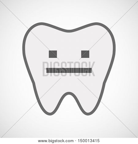 Isolated Line Art Tooth Icon With A Emotionless Text Face