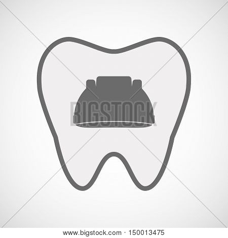 Isolated Line Art Tooth Icon With A Work Helmet