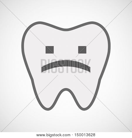 Isolated Line Art Tooth Icon With A Sad Text Face